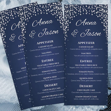 DIY Printable Wedding Menu Template | Editable MS Word file | 4 x 9.25 | Instant Download | Navy Blue Diamond Shower