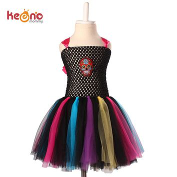 Keenomommy Rainbow Skull Tutu Dress Girls Fancy Halloween Purim Costume Handmade Kids Tulle Dress TS119