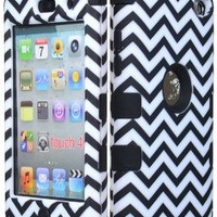 Bastex Hybrid Hard Case for Apple Ipod Touch 4, 4th Generation - Black Silicone with Black & White Chevron Pattern