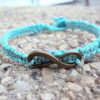 Pastel Blue Hemp Bracelet Infinity Charm Macrame For Women