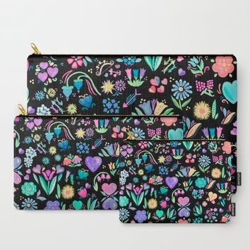Bright Floral Delight Carry-All Pouch by Noonday Design | Society6