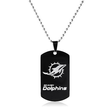 Miami Dolphins Sports Football Team Logo Tags Black Stainless Steel Military Army Tags Cards Necklace Pendants Men Jewelry