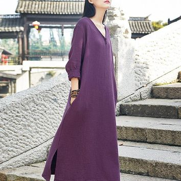 Johnature Women V-Neck Vintage Dress Double Cotton Linen Robe Long Sleeve Loose 2018 Fall New Brief Pullover Button Women Dress
