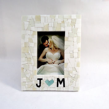 Custom Mosaic Wedding Picture Frame with Couples Initials & Heart - Engagement Gift - White Frame - For Couples Picture Frame - Personalized