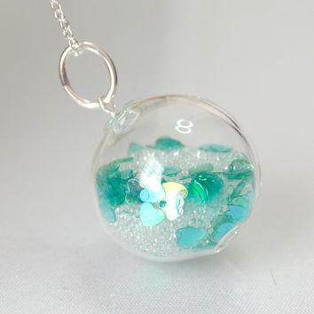 Icy teal heart  blown glass ball sterling silver necklace Valentine gift