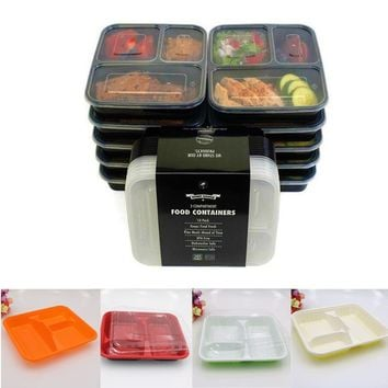 Newest  3 Compartment Food Fruit Storage Containers with Lids Bento Box Lunch Box Picnic Food Storage Box Microwave and Dishwash
