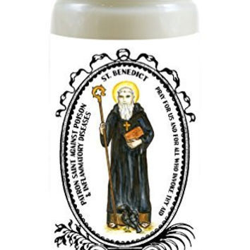 Saint Benedict Patron Against Poison & Inflammatory Diseases 8 Ounce Scented Soy Prayer Candle