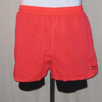 Vintage Super Rare 80s NEON PUMA TENNIS Nike Challenge Court Style Lined Athletic Spor
