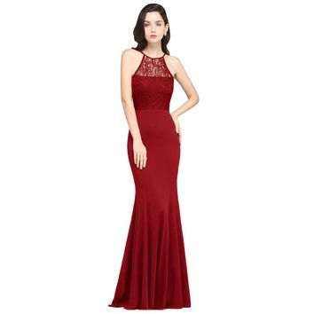 Elegant Halter Long Evening Dress Party Women Lace Mermaid Evening Gown Formal Dresses
