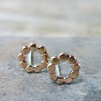 Tiny Solid 14k Gold Circle of Dots Earrings - Minimalist Studs with Sterling Silver Posts - Limited Edition