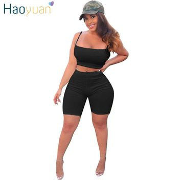 HAOYUAN Sexy 2 Piece Set Women Clothes Strap Crop Tops+Biker Shorts Sweat Suits Club Outfits Two Piece Matching Casual Tracksuit