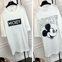 White Cartoon Print Short Sleeves Graphic  Tee