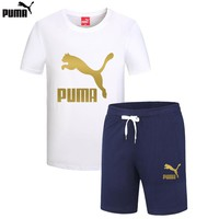 PUMA 2018 summer new round neck breathable top running shorts two-piece White