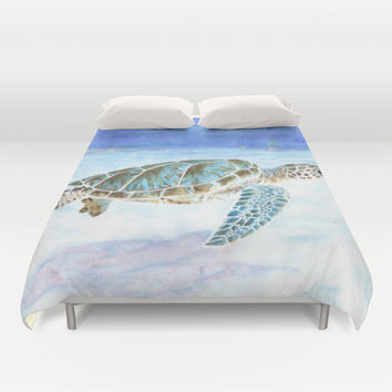 Tortue verte / Green Turtle Duvet Cover by Savousepate
