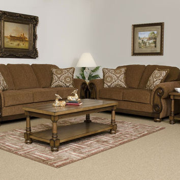 Brazil Wood Apron sofa and loveseat by Serta Upholstery