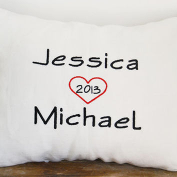 Personalized wedding pillow, anniversary pillow cover,name pillow cover, embroidered wedding pillow case.