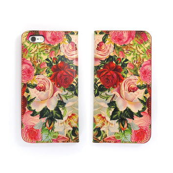 Leather Folio Phone Case - Decoupage Roses