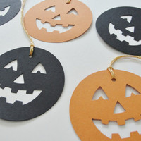 Halloween Paper Jack-o-lantern Tags, Halloween Party Goody Bag Gift Tags, Halloween Paper Pumpkin Cut Outs, Orange and Black Set of 12