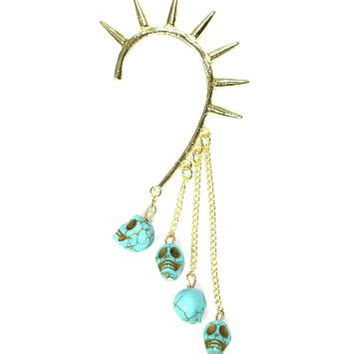 Voodoo Skulls Spiked Ear Cuff Gold Tone Metal Wrap CD13 Fringe Turquoise Blue Skeleton Chandelier Earring
