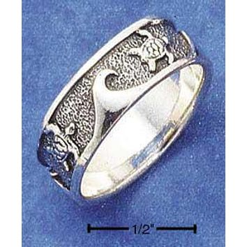 Sterling Silver Ring:  Waves And Turtles Band Ring