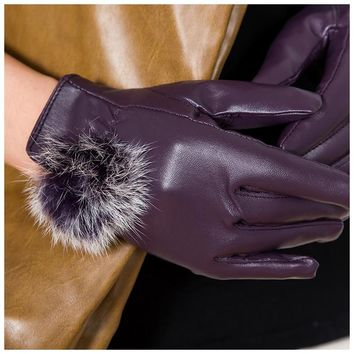 BFYL Women 's Fashion PU Leather Cashmere 3 Colors Warm Winter Gloves Elegant Beauty Gifts Purple