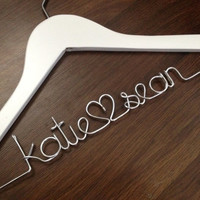 Wedding Dress Hanger Bride Hanger Last Name by DeighanDesign