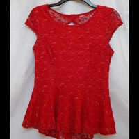 SUPER CUTE! Red Top with Open Back Detailing!