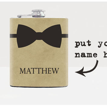 Bow tie flask - Groomsmen flask - Groomsman gift - Wedding party flasks - Party favor - Mens birthday gift - Personalized gifts for men