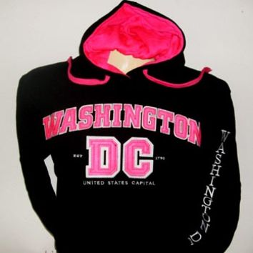 Washington D.C. Souvenirs and Gifts: Washington DC 1790 Black Pullover Hoodie (Sweatshirt) with Hot Pink Lettering