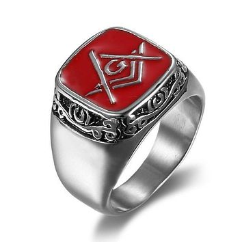 Silver Red Color Freemason Ring