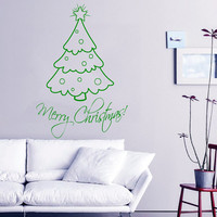 Christmas Wall Decal Christmas Tree Decal Holiday Stickers Merry Christmas Vinyl Letters Home Decor Living Room Window Design Interior KY105