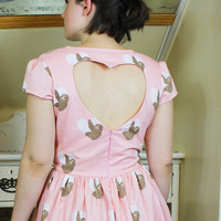 Sloth Heart Cut Out Dress - Open, Low Back, Backless, Pink, Short Sleeves