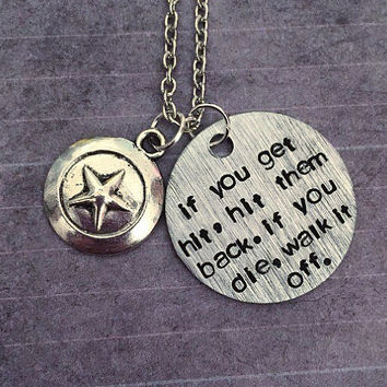 If You Die, Walk It Off Whole Quote Necklace - Superhero Jewelry - Comic Book Jewelry - Steve Rogers Jewelry - Fandom Jewelry - Comic