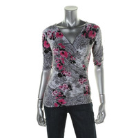 Style & Co. Womens Petites Floral Print Elbow Sleeves Pullover Top