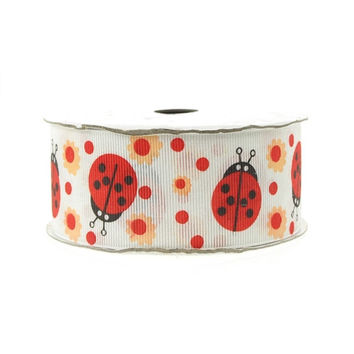 Lady Bug White Polyester Ribbon, 1-1/2-inch, 25-yard