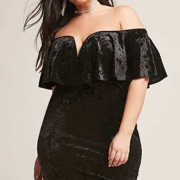 Plus Size Metallic Off-the-Shoulder Dress