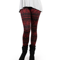 Filigree Print Fleece Leggings