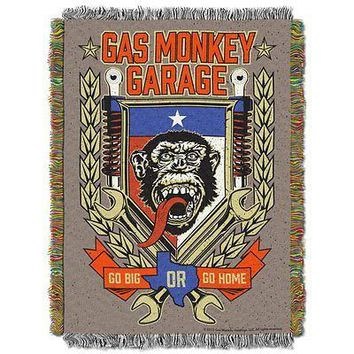 Gas Monkey Garage Tongue Swag 48x60 Woven Tapestry Throw FREE US SHIPPING