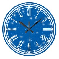 Blue Sky and White Stars Wall Clock