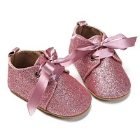 Baby Girl Glitter Ribbon Lace up Soft Soled Shoes