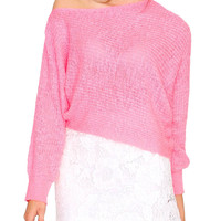 Colorless Knit Crop Top Neon Pink