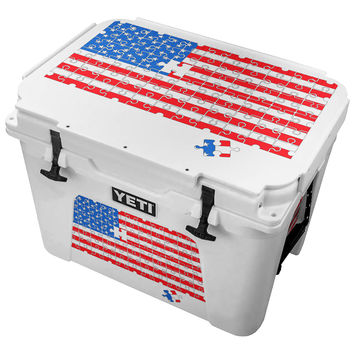 American Flag Puzzle Solo Piece Skin for the Yeti Tundra Cooler