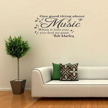 Wall Quote Decal Vinyl Sticker Art Bob Marley Music Makes You Feel No Pain Party Home Decoration Wall Art Sticker