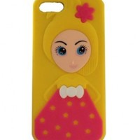 HJX Yellow iphone 4/4S Beautiful Cute Barbie Doll Pattern Silicone Soft Case Back Protector Cover for iphone 4 4G 4S