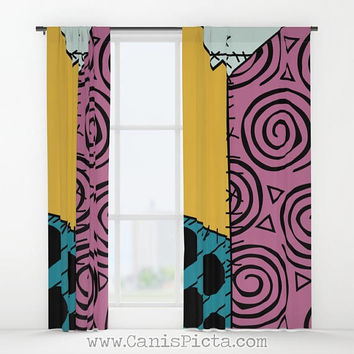 Sally Skellington WINDOW CURTAIN Decorative House Home Art Decor Fan Gift Drapes Treatment Movie Finkelstein NMBC Nightmare Before Christmas