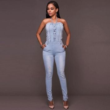 ESBONHS Misstyle Summer Rompers Women Jumpsuits Jeans Band Jumpsuit Fashion Slim Sexy Bandage Sleeveless Bodysuit Casual Romper Femme