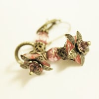 Pink and Bronze Flower Earrings