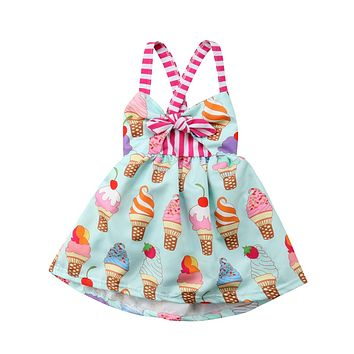 Casual Toddler Kids Child Baby Girls Dresses Halter Backless Sleeveless Bow Baby Girl Cute Dress Summer Clothes 6M-5T