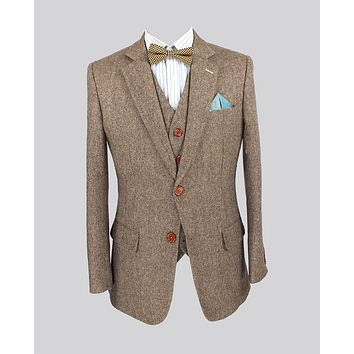 Retro Light colored Brown tweed custom made Groom Tuxedos mens 3 piece suits slim fit tailor made wedding suits for men