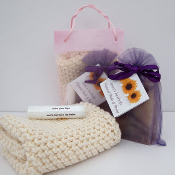 Mother's Day Gift Pack Lavender Soap Lip Balm and 100% Organic Cotton Face Cloth